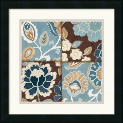 Patchwork Motif Blue I Framed Print by Alain Pelletier