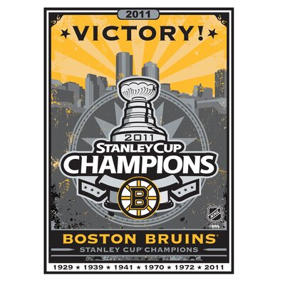 "Artissimo Designs Boston Bruins 2011 Stanley Cup Champions 8"" x 10"" Canvas Art"