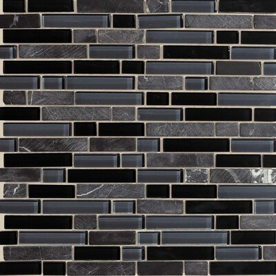 "American Olean Legacy Glass 12"" x 12"" Glazed Random Linear Glass and Stone Mosaic in Mountain Blend"