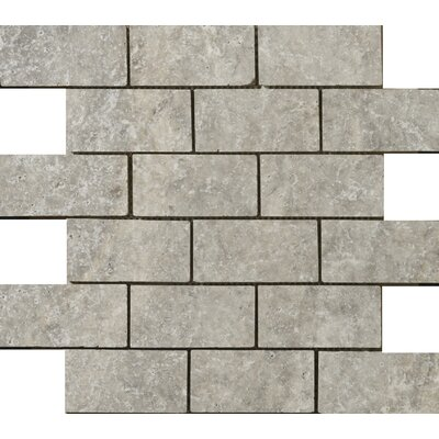 "Emser Tile Natural Stone 12"" x 12"" Travertine Offset Mosaic in Silver"