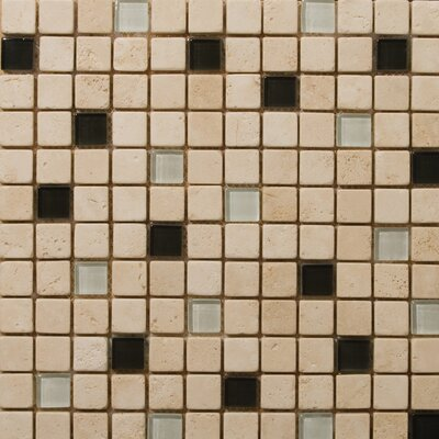 "Emser Tile Natural Stone 12"" x 12"" Travertine Ancient Tumbled Glass Blend Mosaic in Legero Beige"