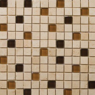 "Emser Tile Natural Stone 12"" x 12"" Travertine Ancient Tumbled Glass Blend Mosaic in Pingu Beige"