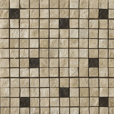 "Emser Tile Natural Stone 12"" x 12"" Travertine Ancient Tumbled Metal Blend Mosaic in Element Beige"