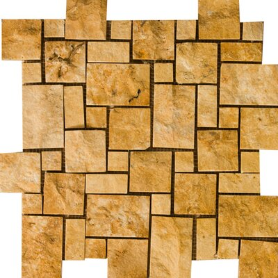 "Emser Tile Natural Stone 12"" x 12"" Travertine Split Face Versailles Mosaic in Gold"