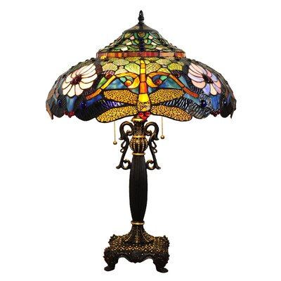Chloe Lighting Tiffany Style Dragonfly Table Lamp with 128 Cabochons