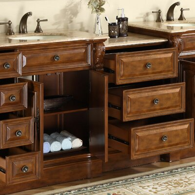 "Silkroad Exclusive Charlotte 95"" Double Bathroom Vanity Set"