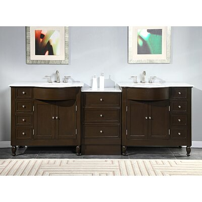 Silkroad Exclusive Kelston 95 Double Bathroom Vanity Set