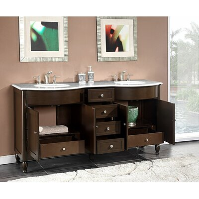 Silkroad Exclusive Kelston 72 Double Bathroom Vanity Set