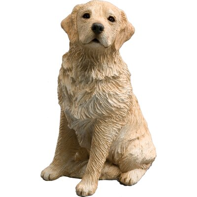 Sandicast Mid Size Sitting Light Golden Retriever Sculpture