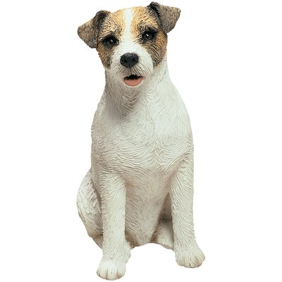 Sandicast Mid Size Jack Russell Terrier Sculpture in Brown / White