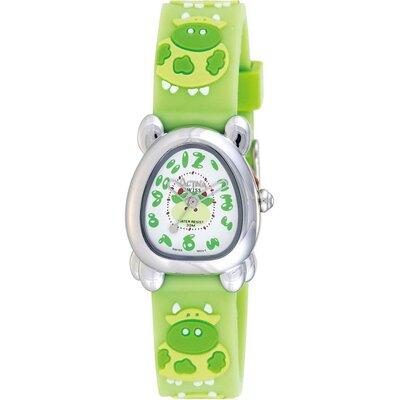 Juniors Cow Design Watch in Green Rubber