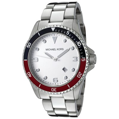 Men's Stainless Steel Watch with White Dial