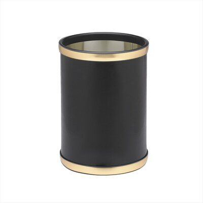 "Kraftware Sophisticates 10"" Waste Basket with Brushed Gold Band in Black"