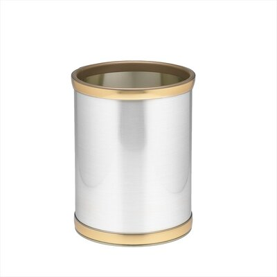 "Kraftware Mylar 10"" Waste Basket with Brass Band in Brushed Chrome"