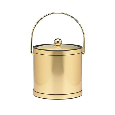 Kraftware Mylar 3 Qt Ice Bucket with Metal Cover in Brushed Brass