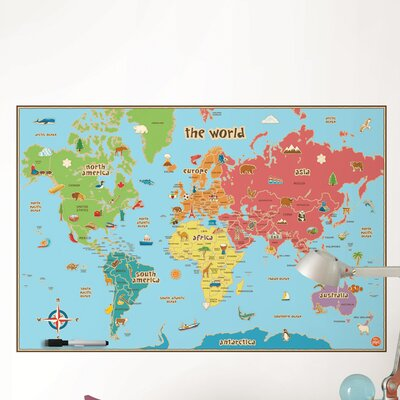 WallPops! Dry Erase Kids World Map Wall Decal