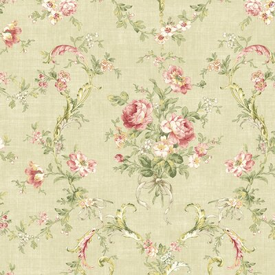 Brewster Home Fashions Willow Cottage Floral Bouquet Wallpaper in Khaki