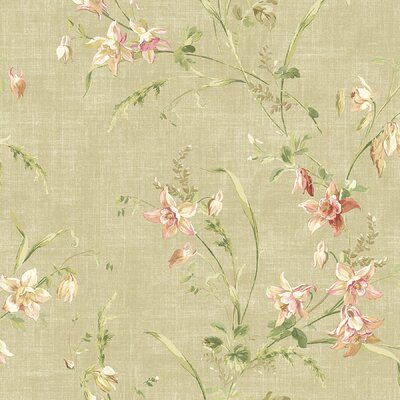 Willow Cottage Lily Trail Wallpaper in Khaki