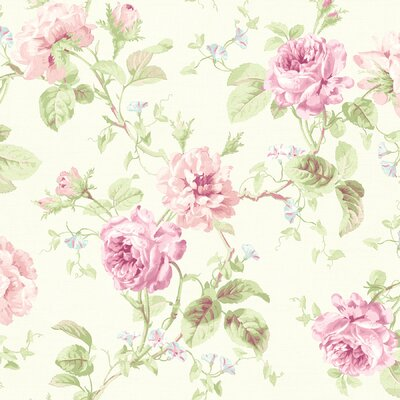 Willow Cottage Rose Trail Wallpaper in Pink / White