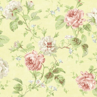 Willow Cottage Rose Trail Wallpaper in Pale Yellow
