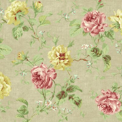 Willow Cottage Rose Trail Wallpaper in Khaki