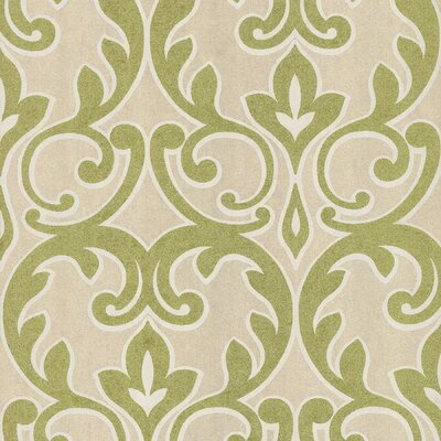 Salon Outline Damask Wallpaper in Metallic Lime Green