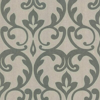 Salon Outline Damask Wallpaper in Metallic Sage