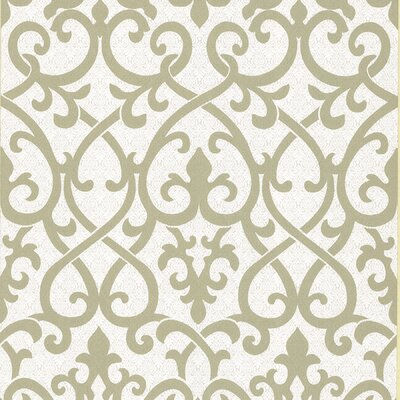 Brewster Home Fashions Serene Ironwork Damask Wallpaper in Gold