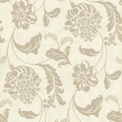 Brewster Home Fashions Serene Affabre Jacobean Wallpaper in Tonal Neutral Pallet
