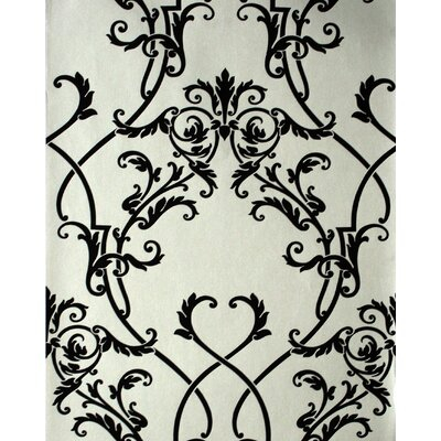 Savoy Nouveau Damask Wallpaper in Black