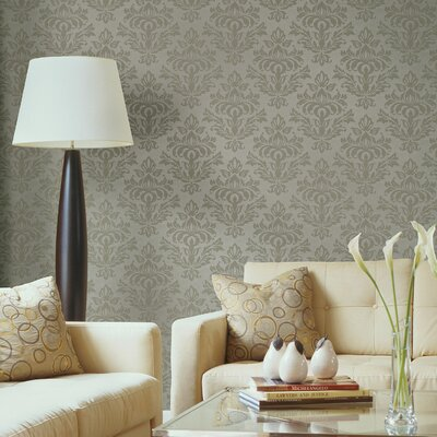 Serene Damask Wallpaper in Hip Tonal Icicle Blue