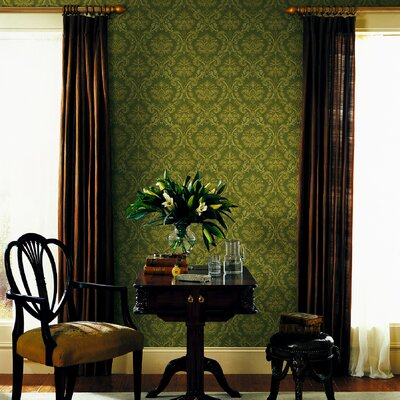Mirage Signature V Fabric Damask Wallpaper in Gold