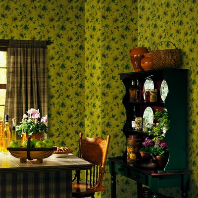 Brewster Home Fashions Northwoods Pine Cone Trail Wallpaper in Yellow