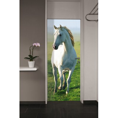 Brewster Home Fashions Ideal Decor White Horse Wall Mural