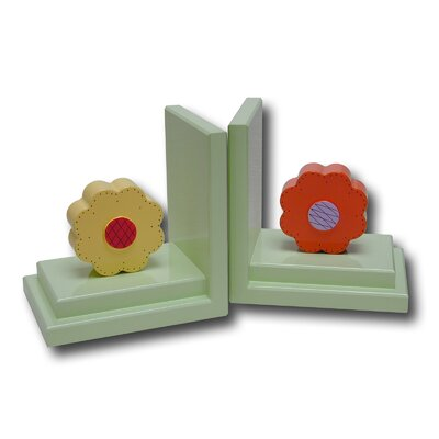 One World Bright Orange / Yellow Lolli Flower Bookends with White Base