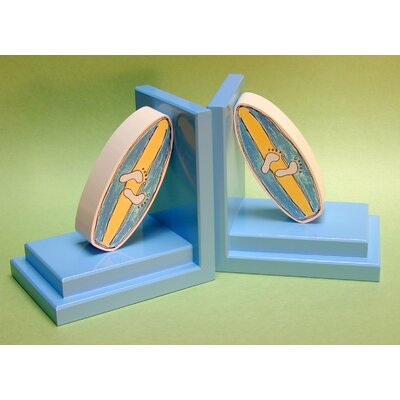 One World Blue Surfboard Bookends with Sky Base