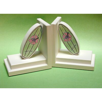One World Blue Surfboard Bookends with White Base
