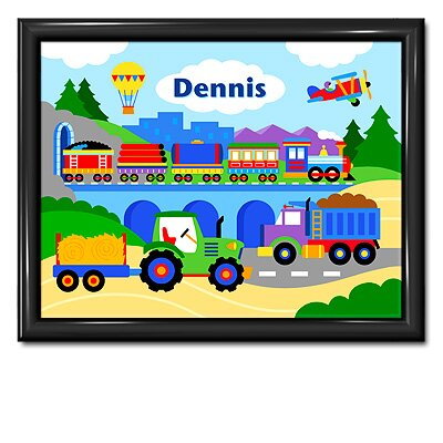 Olive Kids Trains, Planes and Trucks Personalized Print with Gloss Black Frame