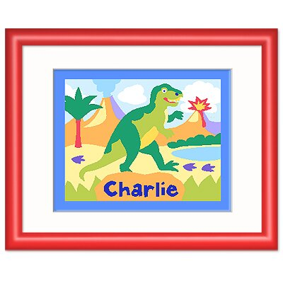 Olive Kids Dinosaur Land Personalized Print with Red Frame