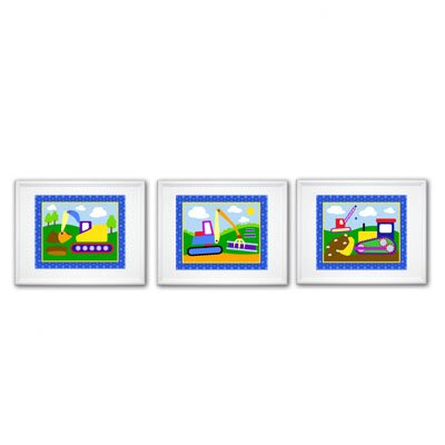 Olive Kids Under Construction Print with White Frame (Set of 3)