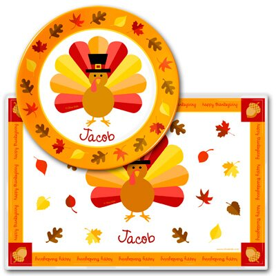 Olive Kids Turkey Personalized Meal Time Plate Set