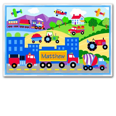 Olive Kids Trains, Planes and Trucks Personalized Placemat