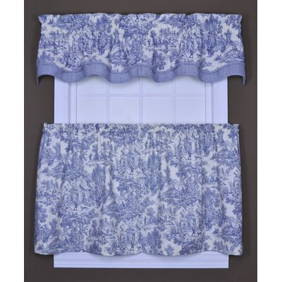 Ellis Curtain Victoria Park Toile Tailored Tier Curtains in Blue