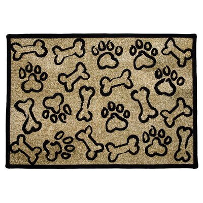 PB Paws & Co. Gold Puppy Paws Tapestry Rug