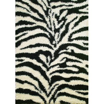 Concord Global Imports Shaggy Zebra Black Shag Rug