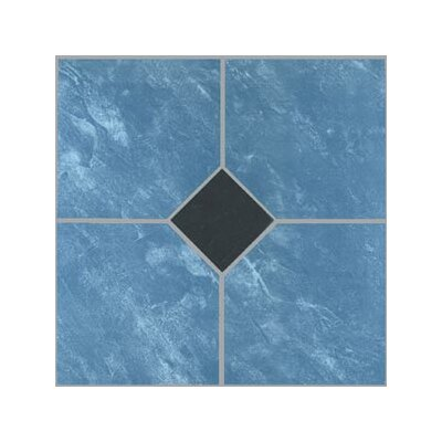 "Home Dynamix 12"" x 12"" Vinyl Tile in Blue Marble / Black Diamond"