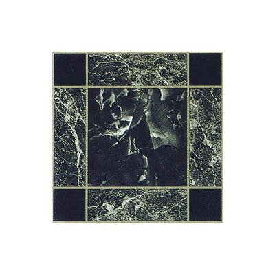 Home Dynamix Vinyl Dark Green and Gold Trim Square Marble Floor Tile (Set of 20)