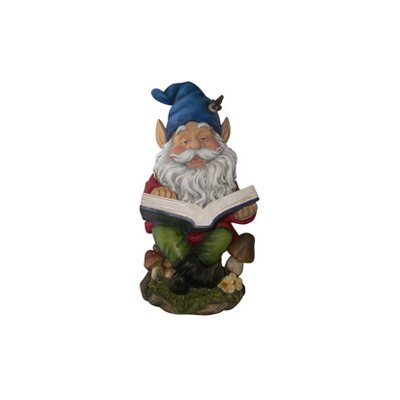 Alpine Gnome Reading Book Statue