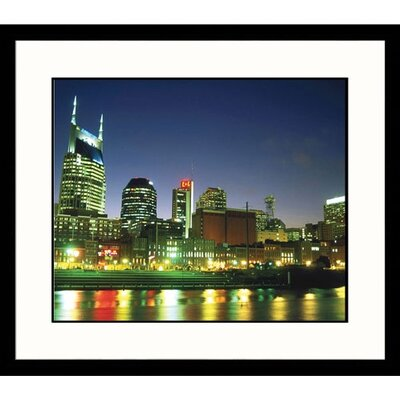 Great American Picture Nashville Skyline Reflection in Cumberland River Framed Photograph