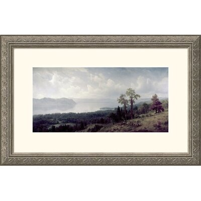 View of the Hudson Looking Across the Tappanzee Silver Framed Print - Albert Bierstadt